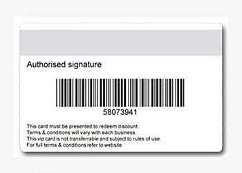 Cartão pvc com código de barras