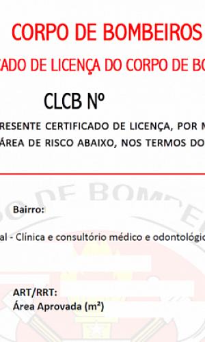 Certificado de licença do corpo de bombeiros